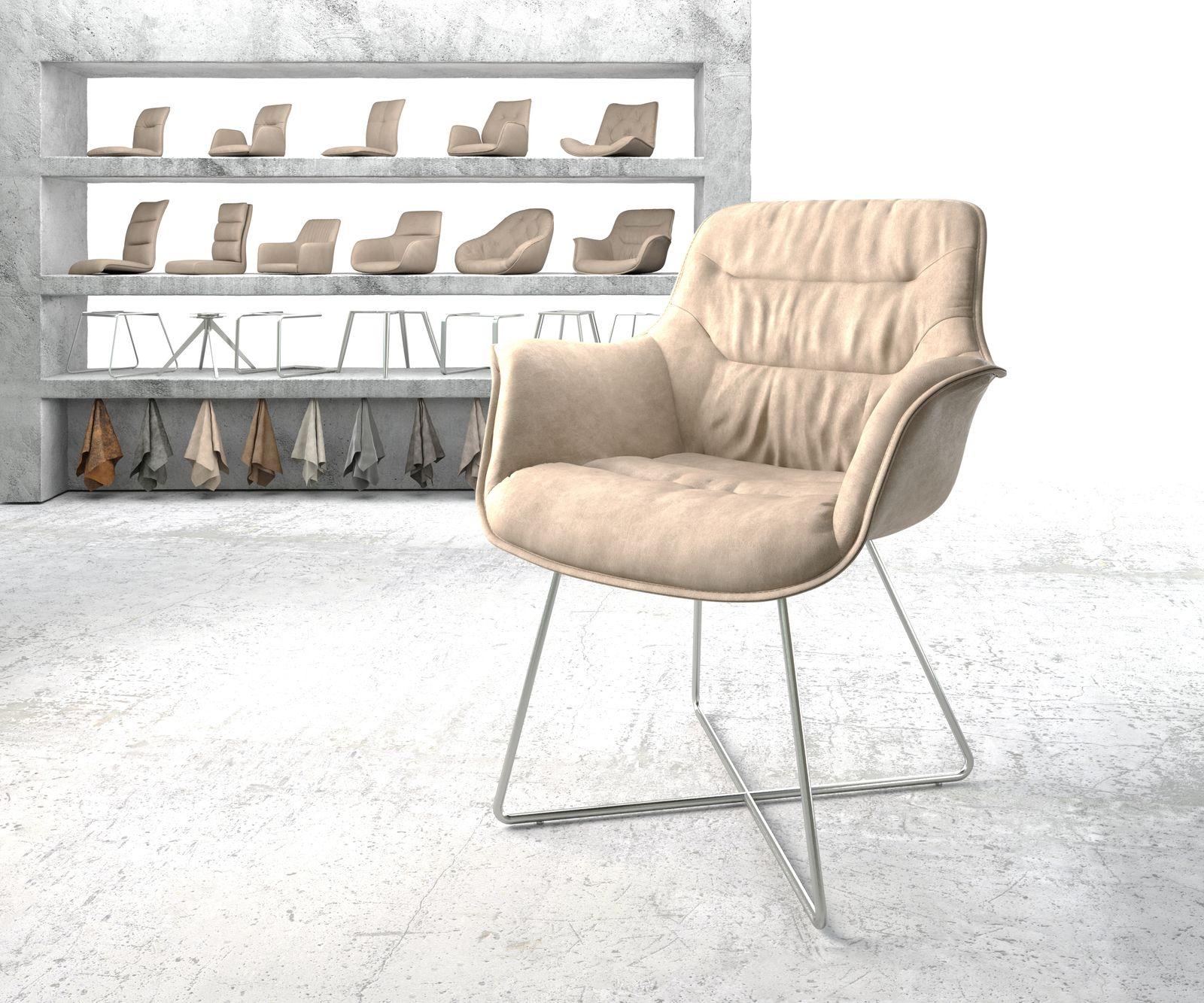 delife-armlehnstuhl-kaira-flex-beige-vintage-x-gestell-edelstahl-esszimmerstuhle