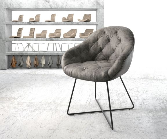 Armleunstoel Gaio-Flex grijs vintage X-frame zwart 1