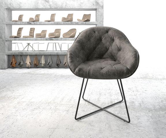 Armleunstoel Gaio-Flex grijs vintage X-frame zwart 2