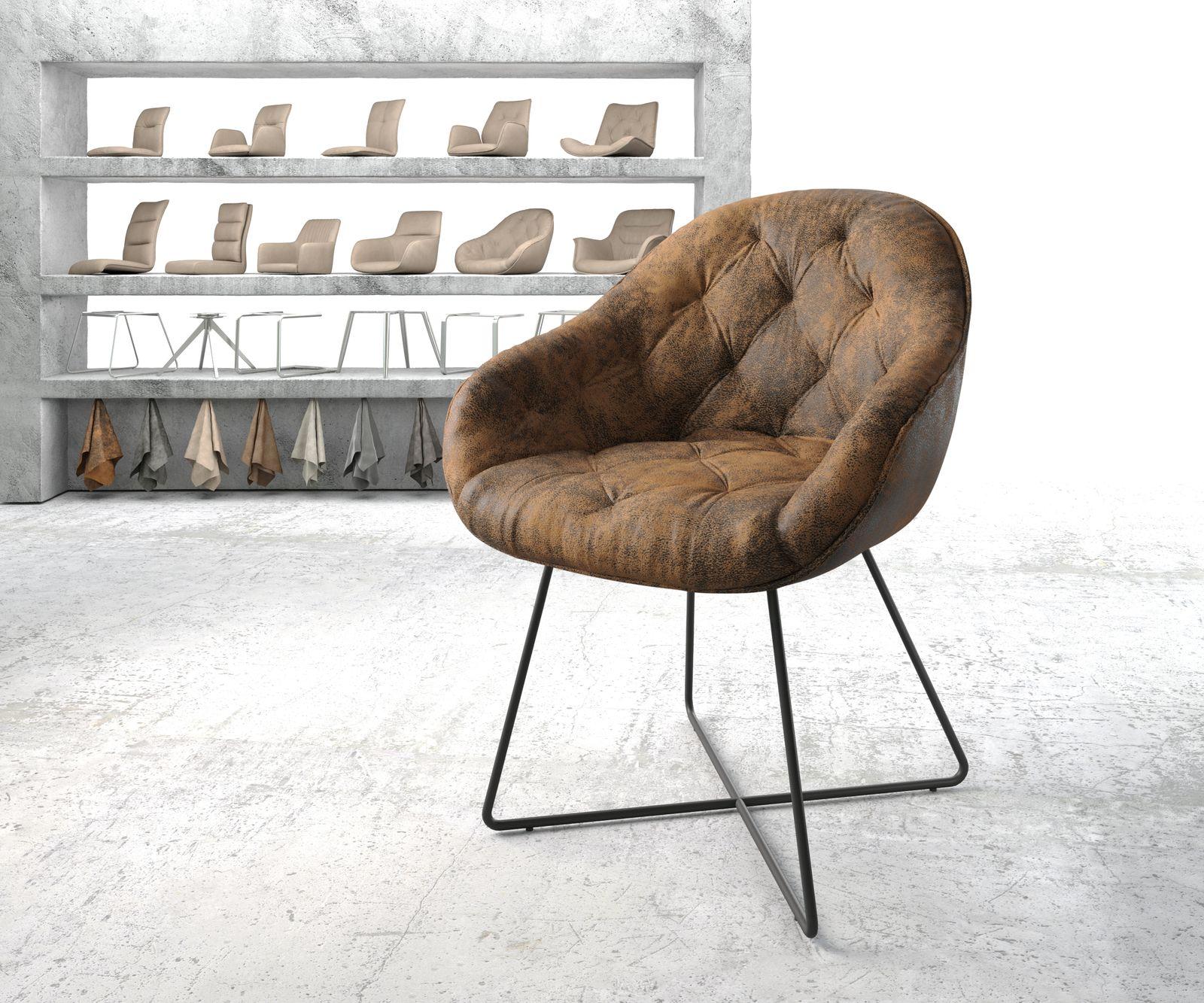 delife-armlehnstuhl-gaio-flex-braun-vintage-x-gestell-schwarz-esszimmerstuhle