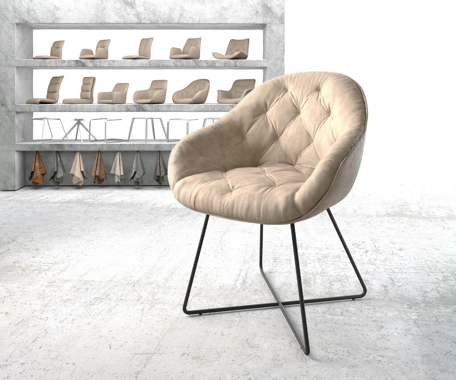 delife-armlehnstuhl-gaio-flex-beige-vintage-x-gestell-schwarz-esszimmerstuhle