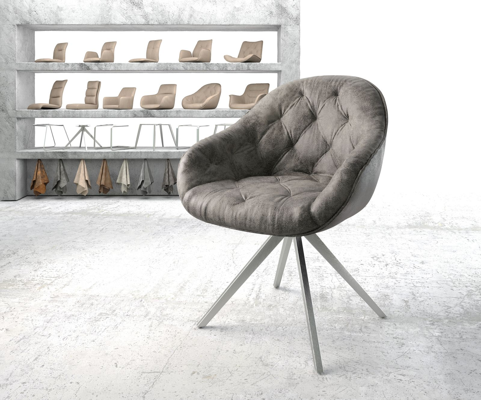 delife-armlehnstuhl-gaio-flex-grau-vintage-kreuzgestell-drehbar-edelstahl-esszimmerstuhle