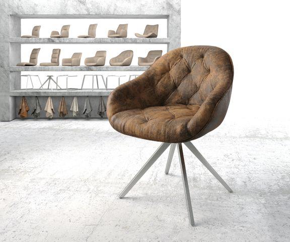 Armleunstoel Gaio-Flex bruin vintage kruisframe draaibaar roestvrij staal 1