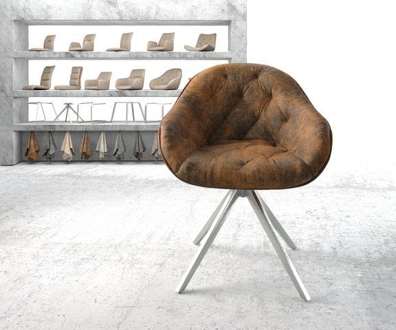 Armleunstoel Gaio-Flex bruin vintage kruisframe draaibaar roestvrij staal 2