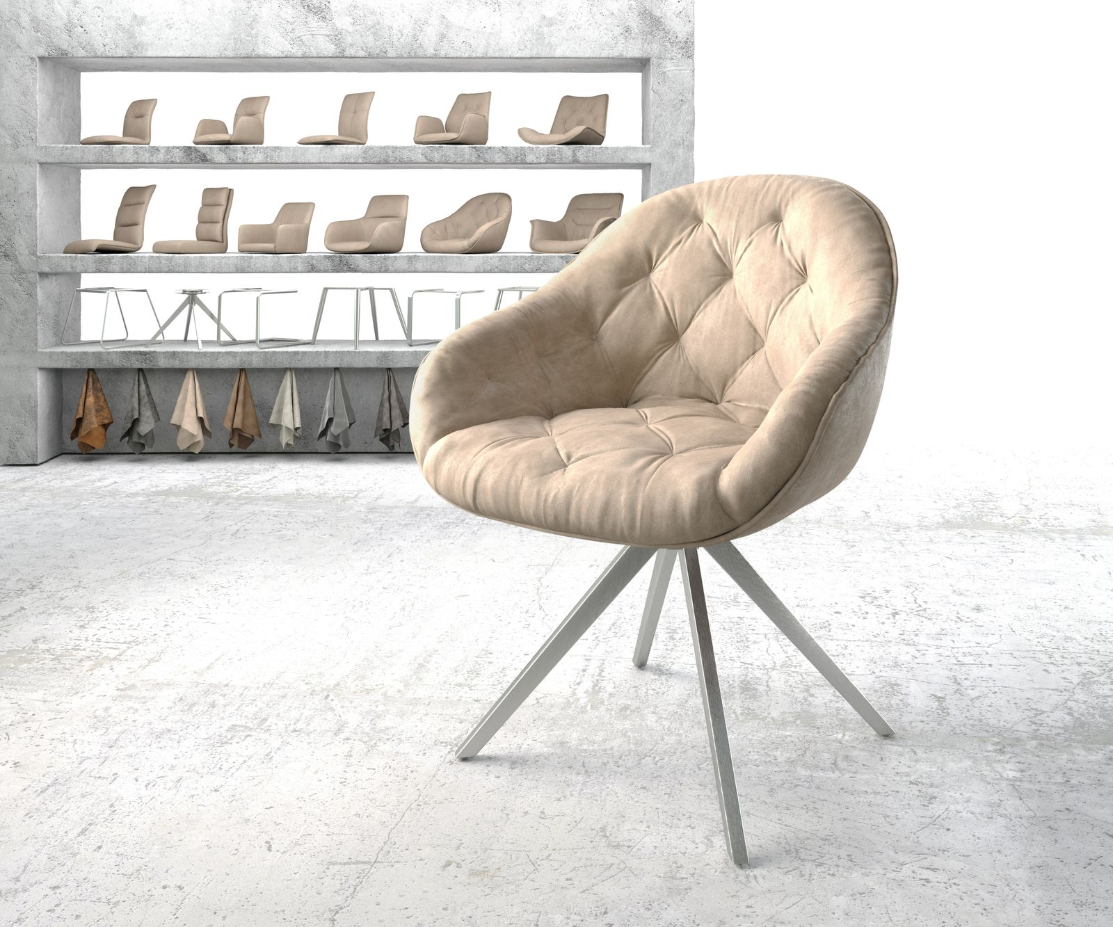 delife-armlehnstuhl-gaio-flex-beige-vintage-kreuzgestell-drehbar-edelstahl-esszimmerstuhle