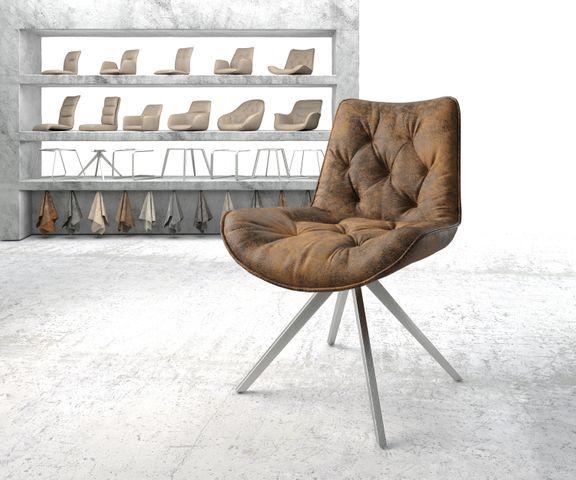 Eetkamerstoel Taimi-Flex bruin vintage kruisframe draaibaar roestvrij staal 1