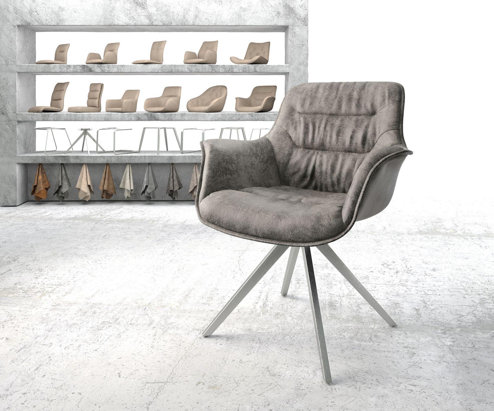 delife-armlehnstuhl-kaira-flex-grau-vintage-kreuzgestell-drehbar-edelstahl-esszimmerstuhle