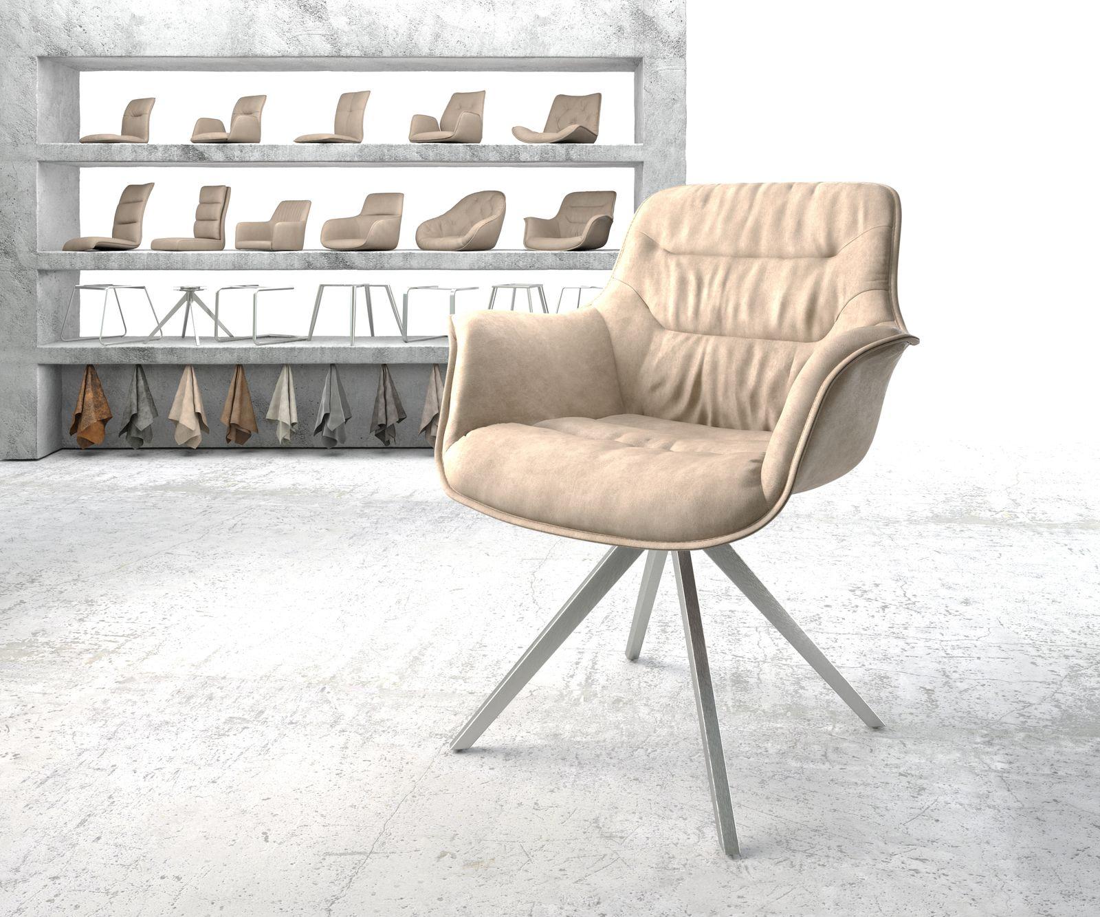 delife-armlehnstuhl-kaira-flex-beige-vintage-kreuzgestell-drehbar-edelstahl-esszimmerstuhle