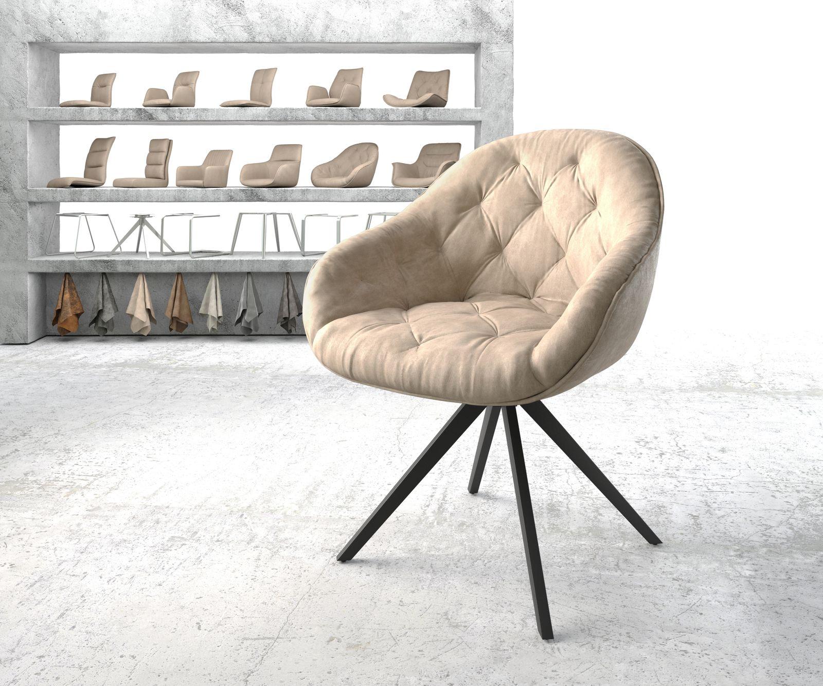 delife-armlehnstuhl-gaio-flex-beige-vintage-kreuzgestell-drehbar-schwarz-esszimmerstuhle