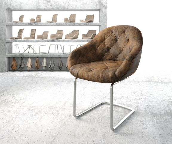 Armleunstoel Gaio-Flex bruin vintage sledemodel rond roestvrij staal 1