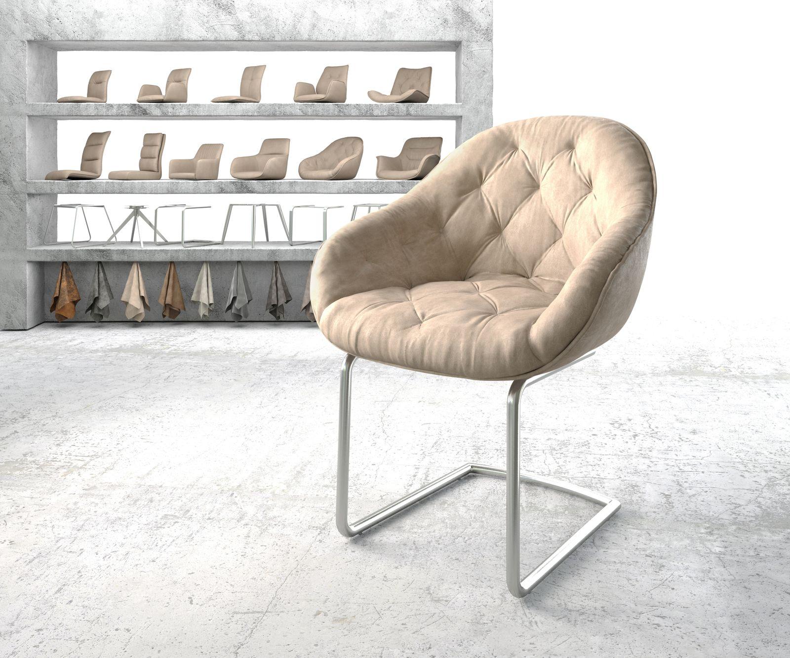 delife-armlehnstuhl-gaio-flex-beige-vintage-freischwinger-rund-edelstahl-esszimmerstuhle