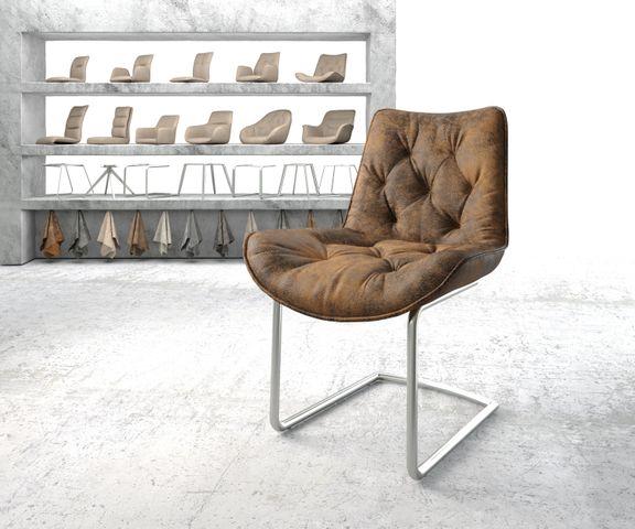 Eetkamerstoel Taimi-Flex bruin vintage sledemodel rond roestvrij staal 1