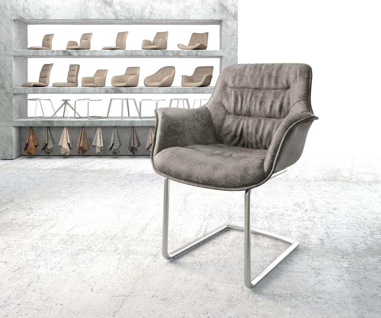 delife-armlehnstuhl-kaira-flex-grau-vintage-freischwinger-rund-edelstahl-esszimmerstuhle