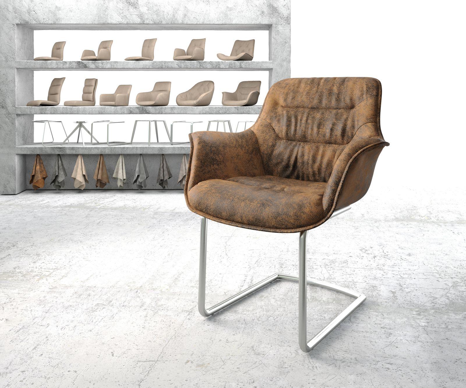 delife-armlehnstuhl-kaira-flex-braun-vintage-freischwinger-rund-edelstahl-esszimmerstuhle