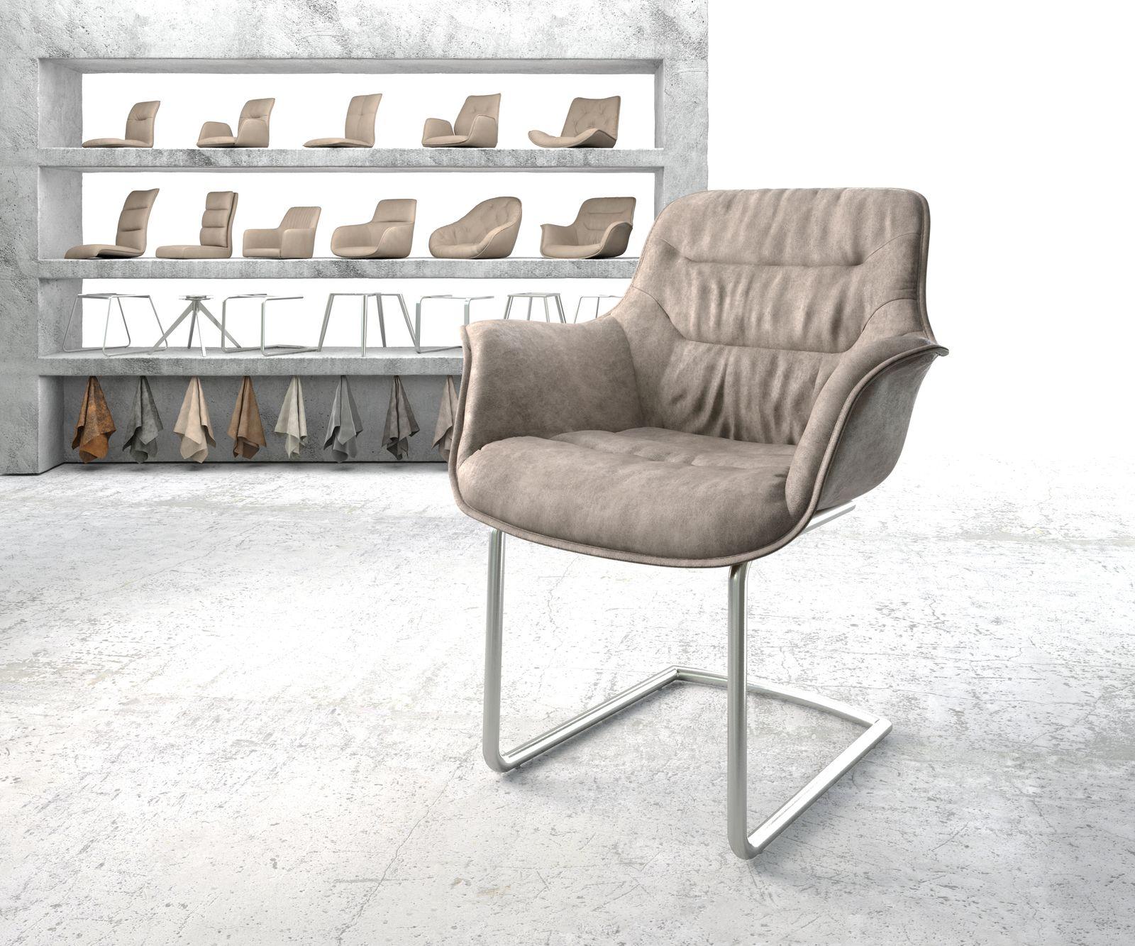 delife-armlehnstuhl-kaira-flex-taupe-vintage-freischwinger-rund-edelstahl-esszimmerstuhle