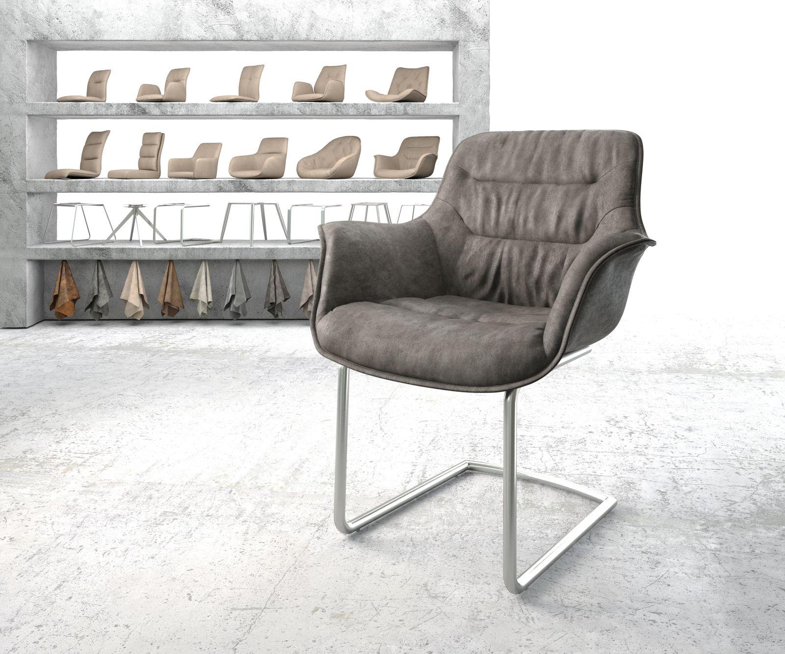 delife-armlehnstuhl-kaira-flex-anthrazit-vintage-freischwinger-rund-edelstahl-esszimmerstuhle