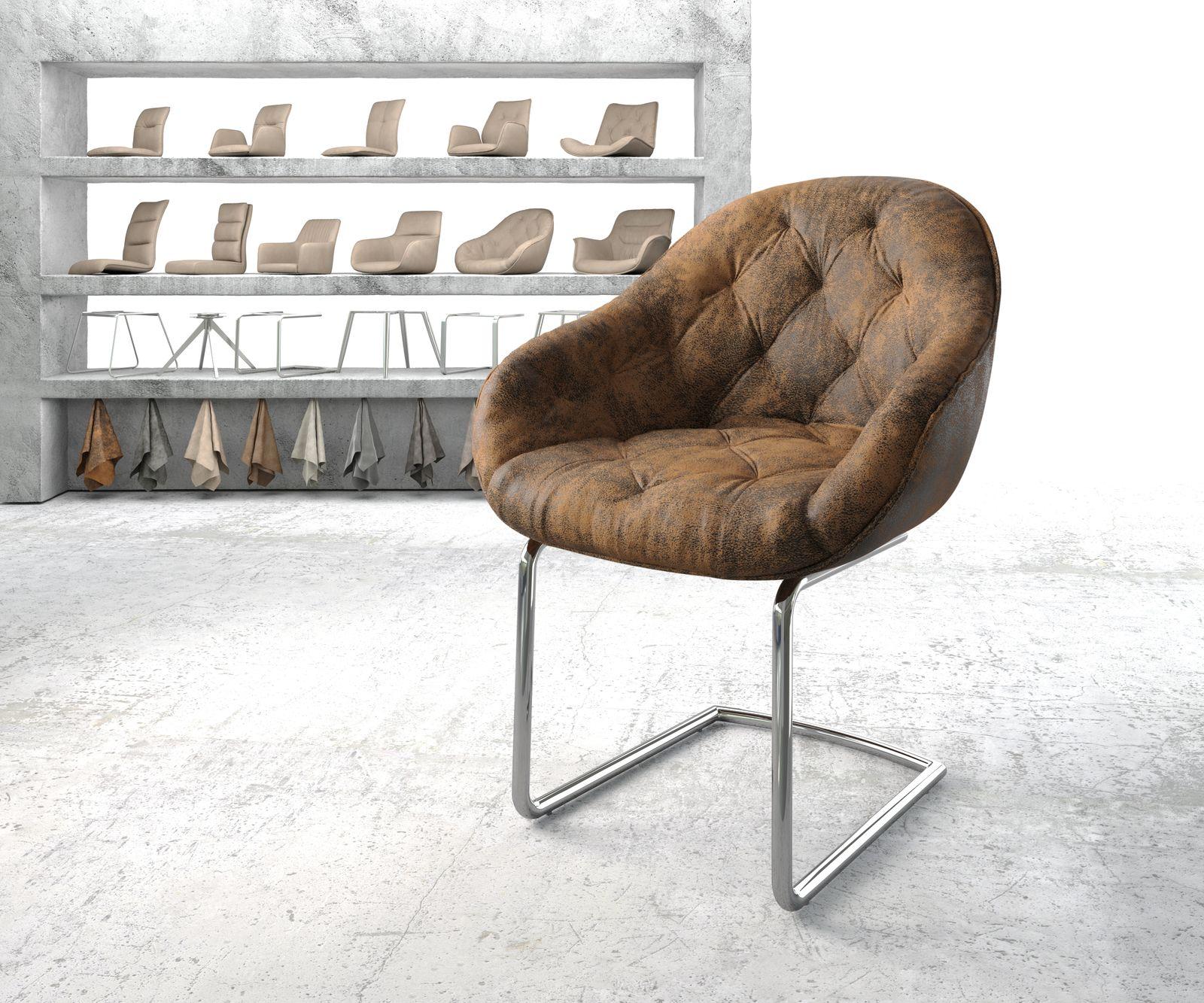 delife-armlehnstuhl-gaio-flex-braun-vintage-freischwinger-rund-verchromt-esszimmerstuhle