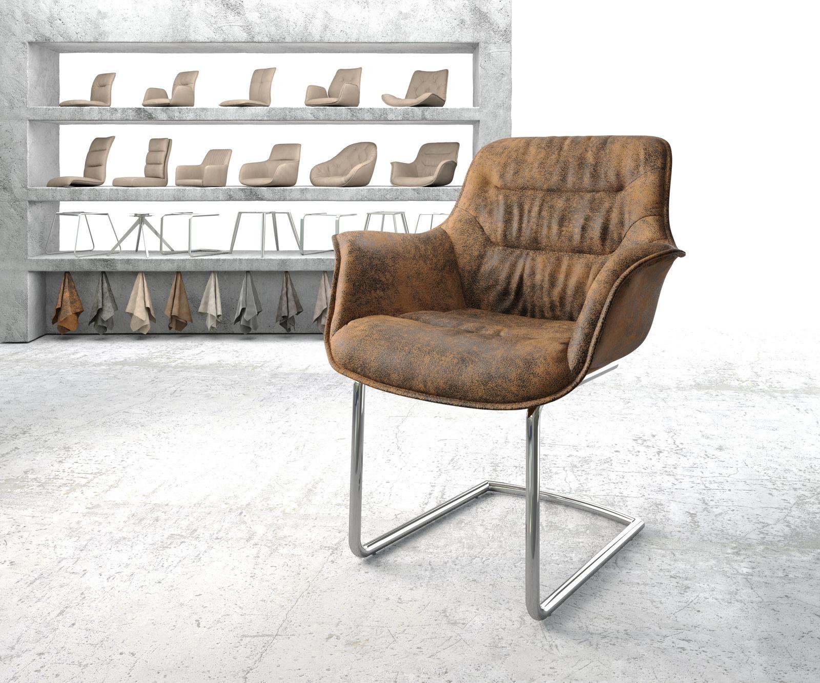delife-armlehnstuhl-kaira-flex-braun-vintage-freischwinger-rund-verchromt-esszimmerstuhle