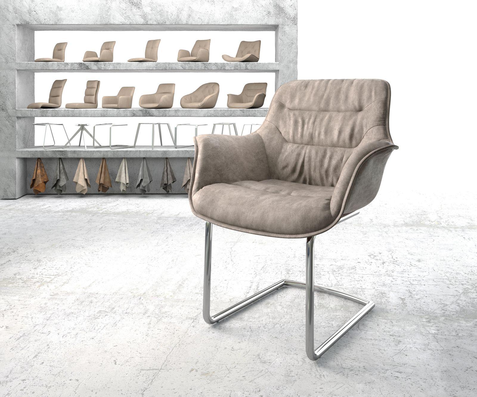 delife-armlehnstuhl-kaira-flex-taupe-vintage-freischwinger-rund-verchromt-esszimmerstuhle