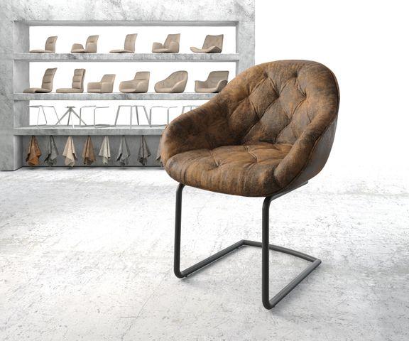 Armleunstoel Gaio-Flex bruin vintage sledemodel rond zwart 1