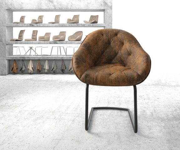 Armleunstoel Gaio-Flex bruin vintage sledemodel rond zwart 2