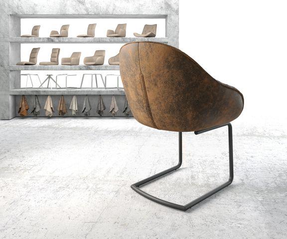 Armleunstoel Gaio-Flex bruin vintage sledemodel rond zwart 3