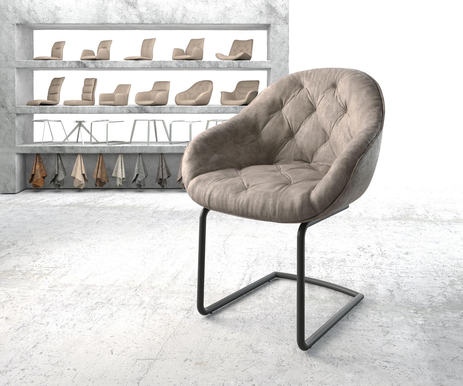 delife-armlehnstuhl-gaio-flex-taupe-vintage-freischwinger-rund-schwarz-esszimmerstuhle