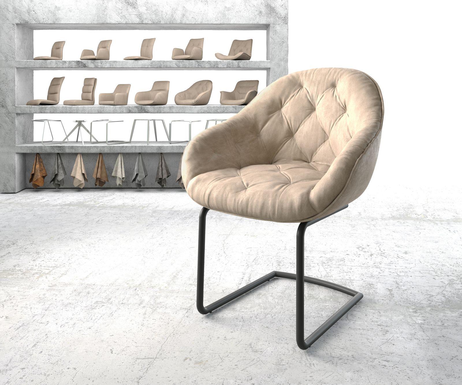 delife-armlehnstuhl-gaio-flex-beige-vintage-freischwinger-rund-schwarz-esszimmerstuhle