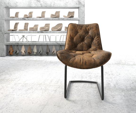 Eetkamerstoel Taimi-Flex bruin vintage sledemodel rond zwart 2