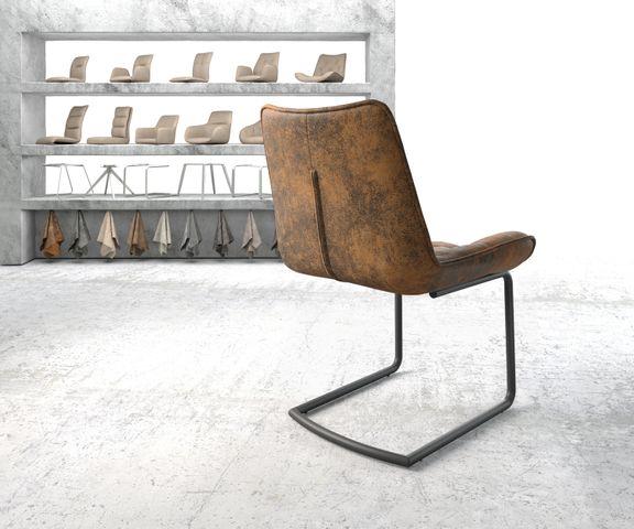 Eetkamerstoel Taimi-Flex bruin vintage sledemodel rond zwart 3