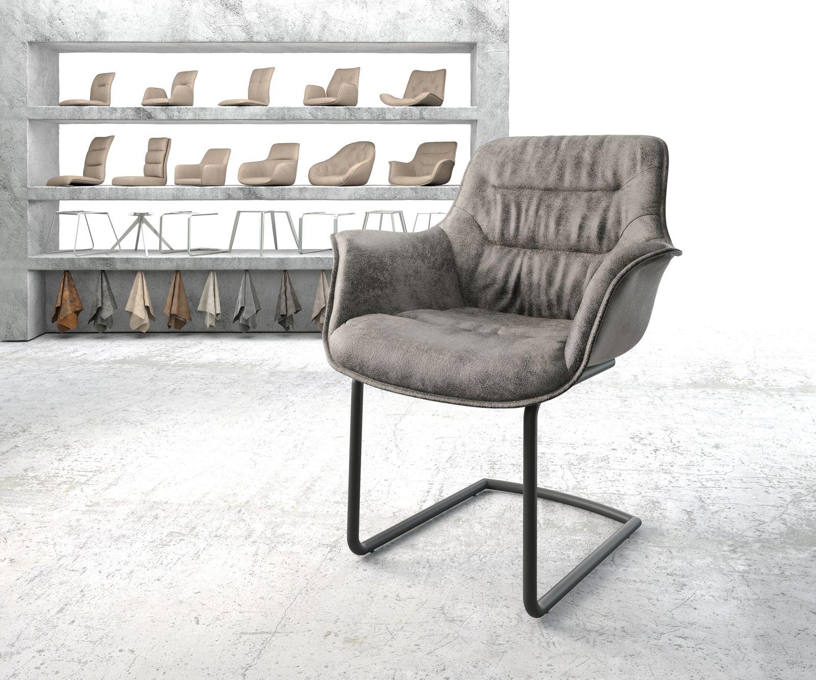 delife-armlehnstuhl-kaira-flex-grau-vintage-freischwinger-rund-schwarz-esszimmerstuhle