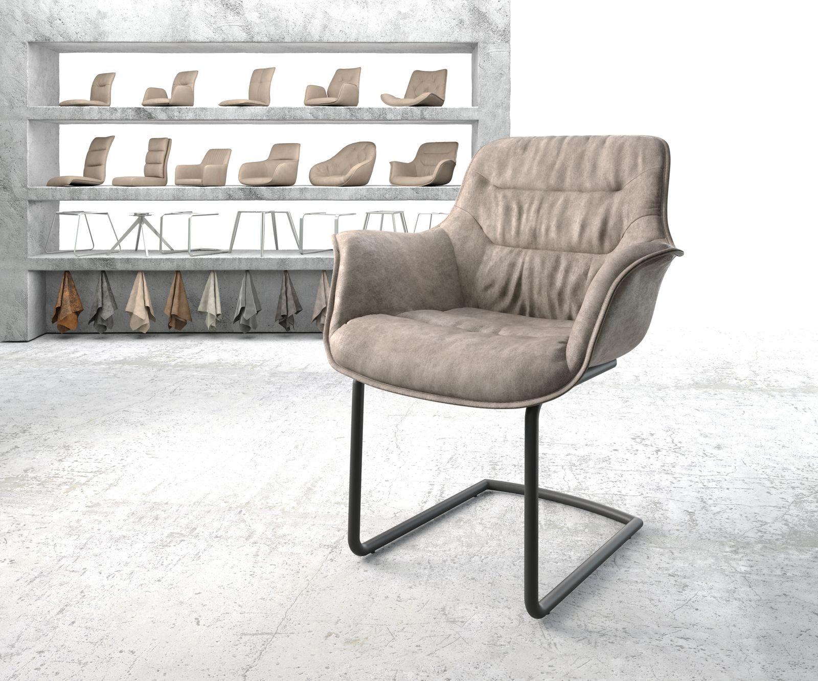delife-armlehnstuhl-kaira-flex-taupe-vintage-freischwinger-rund-schwarz-esszimmerstuhle