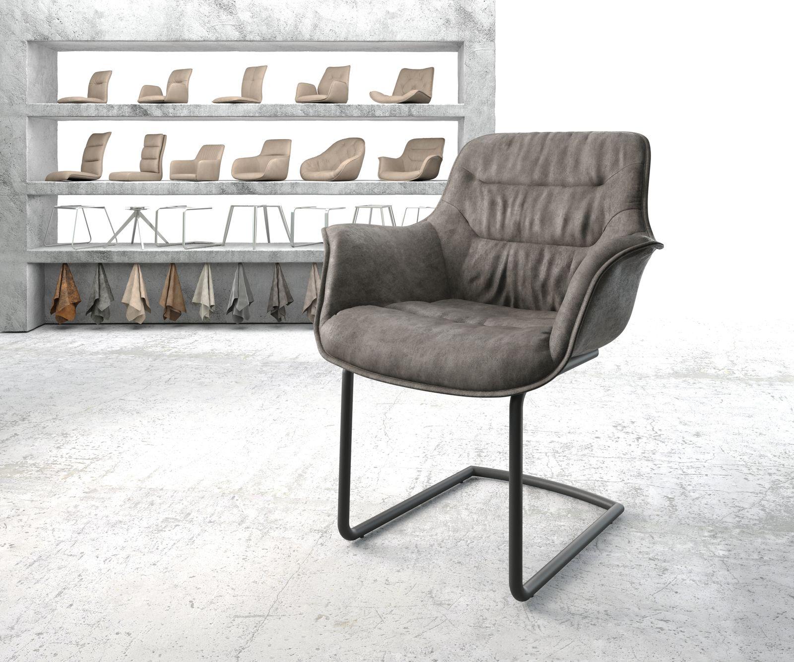 delife-armlehnstuhl-kaira-flex-anthrazit-vintage-freischwinger-rund-schwarz-esszimmerstuhle