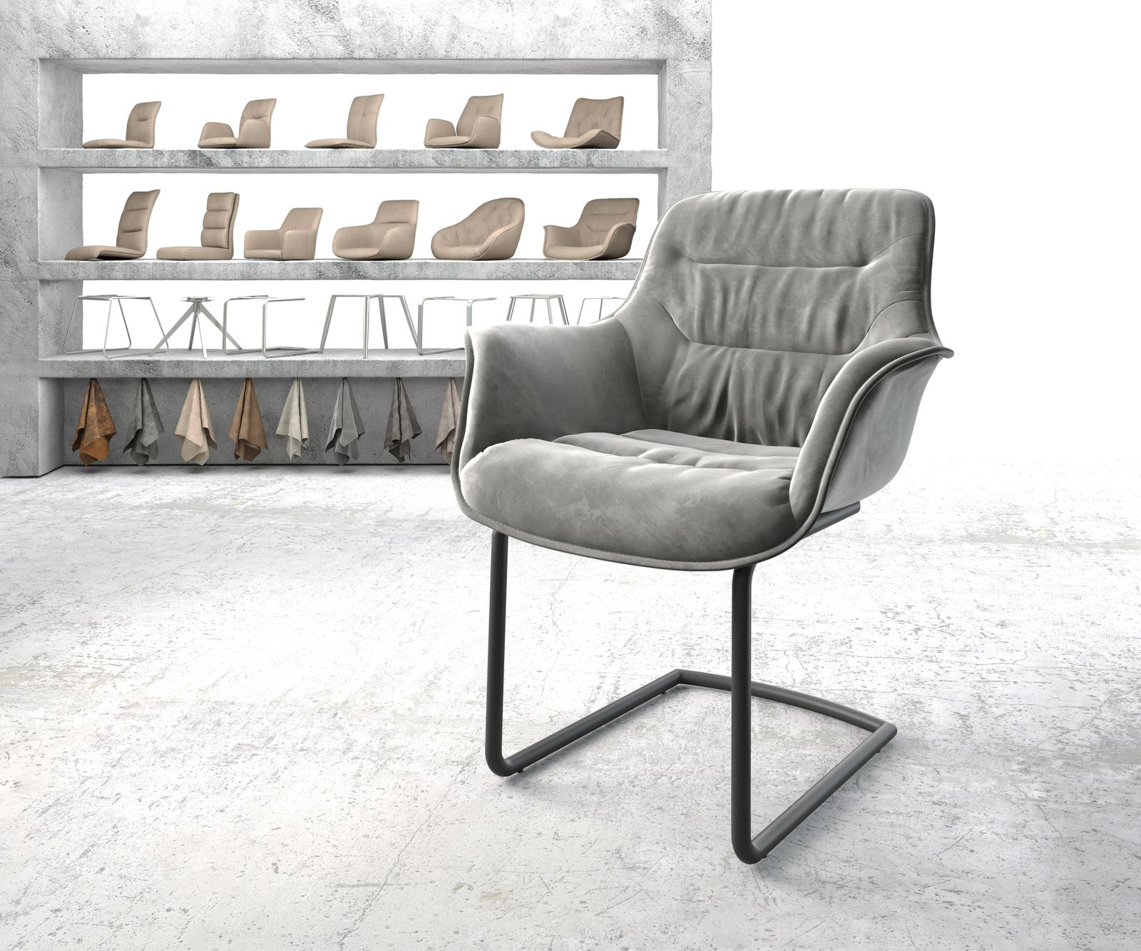 delife-armlehnstuhl-kaira-flex-grau-samt-freischwinger-rund-schwarz-esszimmerstuhle