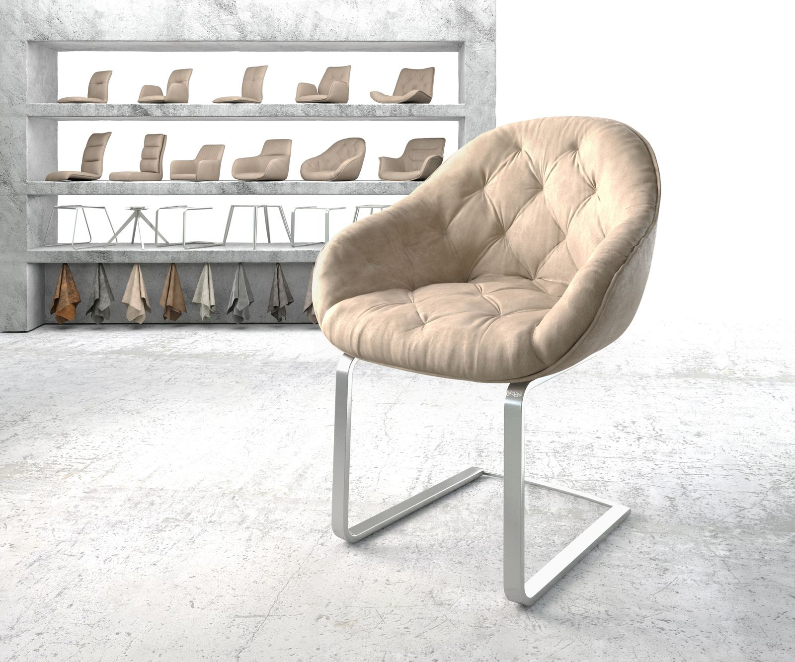 delife-armlehnstuhl-gaio-flex-beige-vintage-freischwinger-flach-edelstahl-esszimmerstuhle