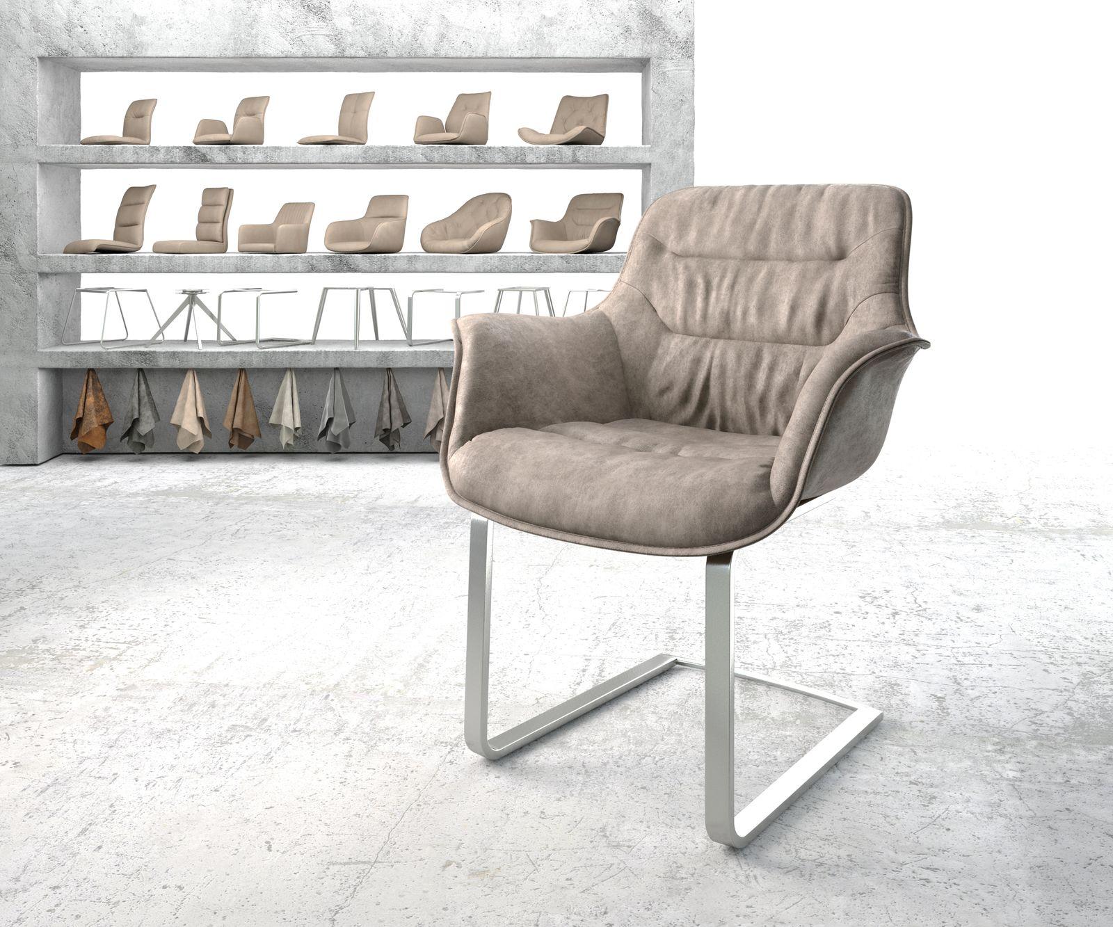 delife-armlehnstuhl-kaira-flex-taupe-vintage-freischwinger-flach-edelstahl-esszimmerstuhle