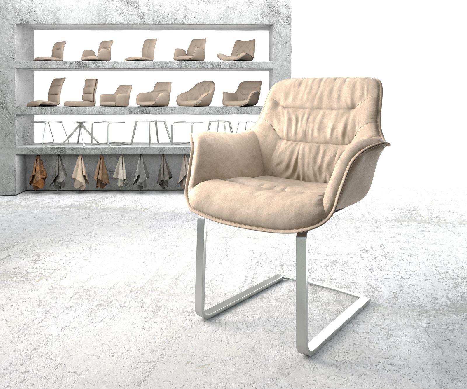delife-armlehnstuhl-kaira-flex-beige-vintage-freischwinger-flach-edelstahl-esszimmerstuhle, 109.90 EUR @ delife-de