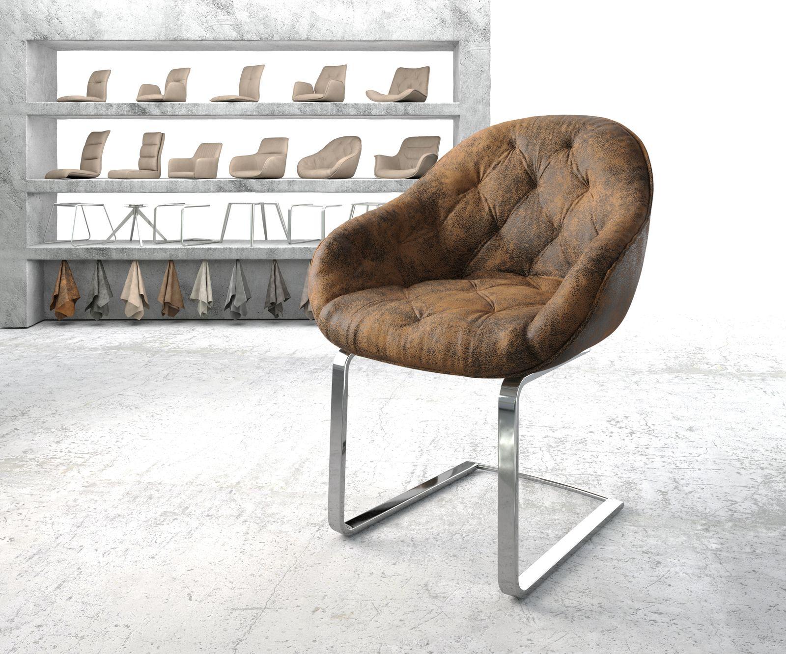 delife-armlehnstuhl-gaio-flex-braun-vintage-freischwinger-flach-verchromt-esszimmerstuhle, 99.90 EUR @ delife-de