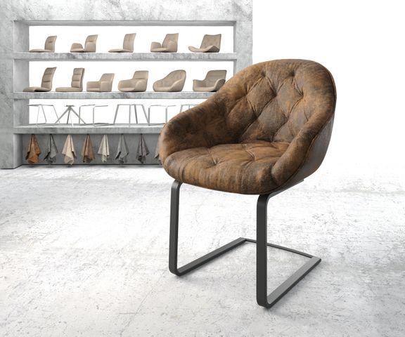 Armleunstoel Gaio-Flex bruin vintage sledemodel vlak zwart 1