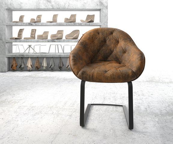 Armleunstoel Gaio-Flex bruin vintage sledemodel vlak zwart 2