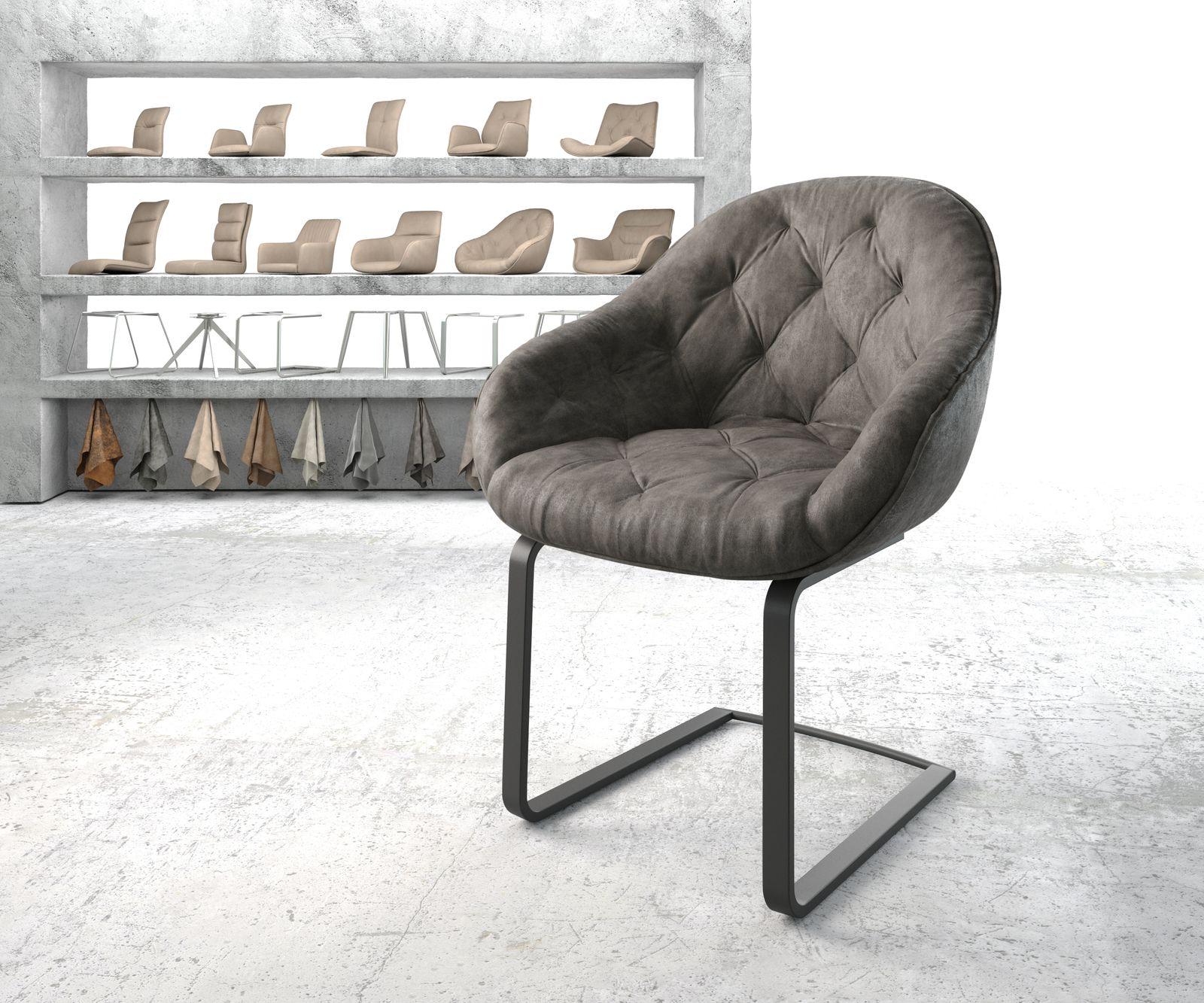 delife-armlehnstuhl-gaio-flex-anthrazit-vintage-freischwinger-flach-schwarz-esszimmerstuhle