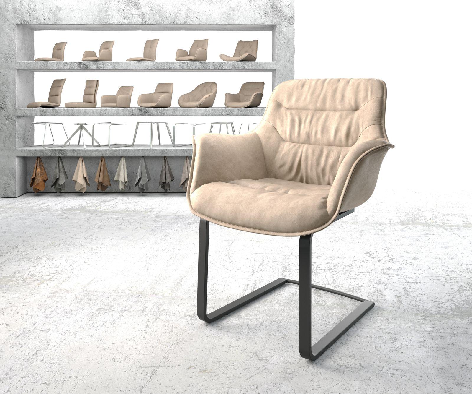 delife-armlehnstuhl-kaira-flex-beige-vintage-freischwinger-flach-schwarz-freischwinger