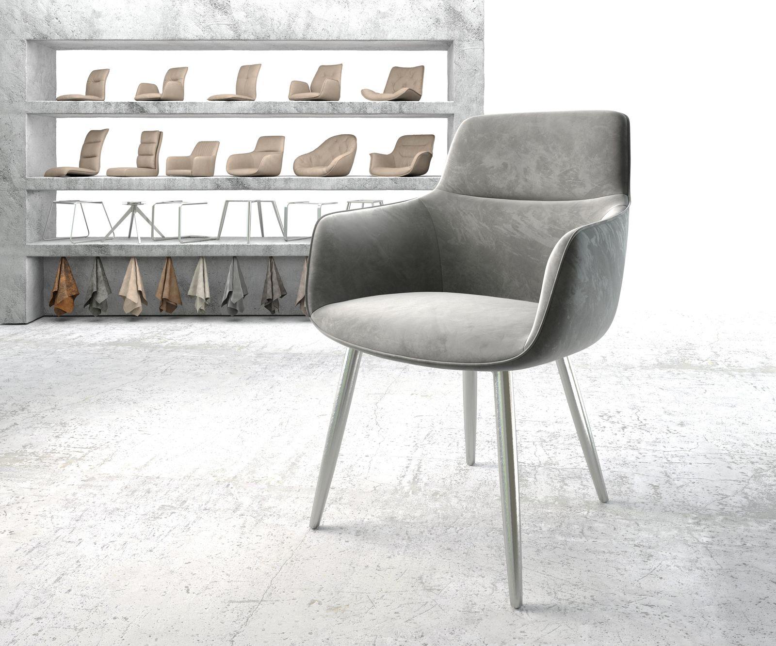 Esszimmerstuhl Pejo-Flex Grau Samt 4-Fuß konisch Edelstahl