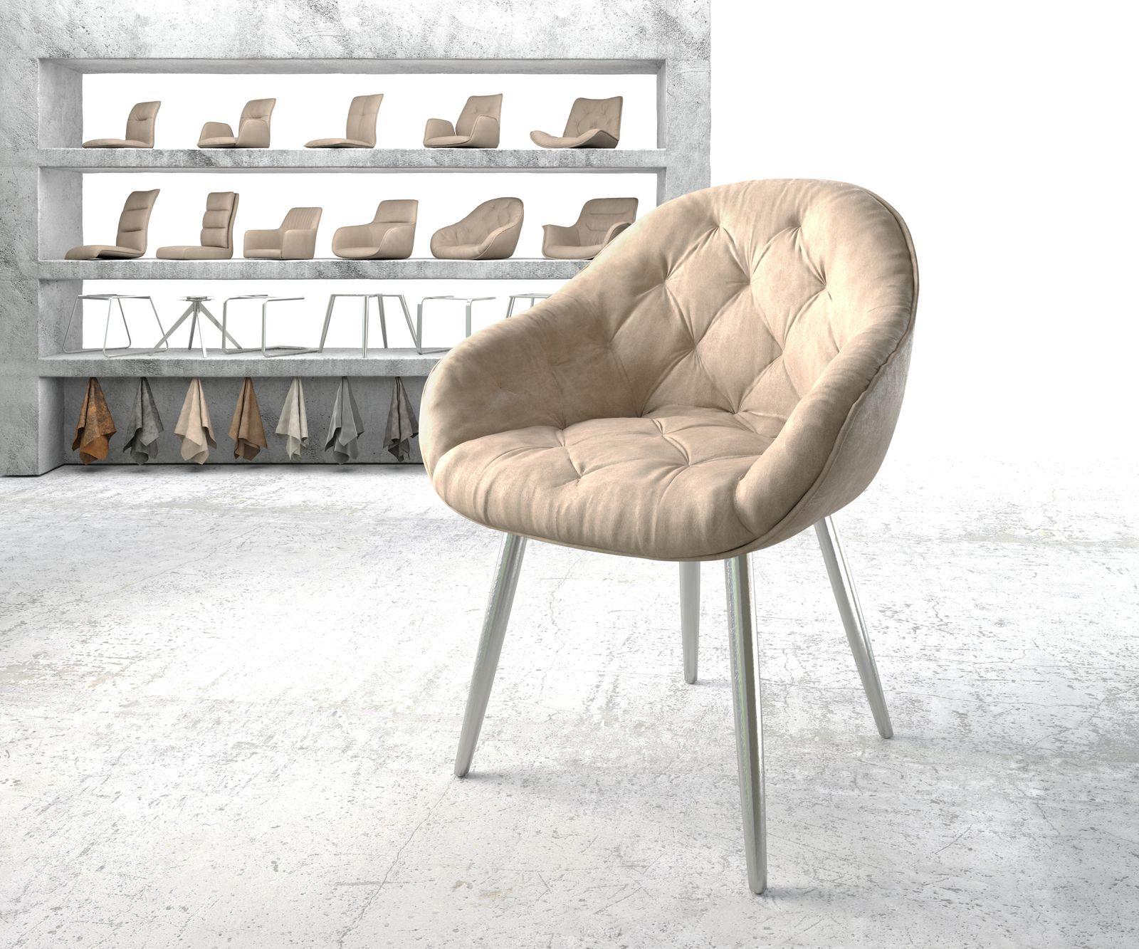 delife-armlehnstuhl-gaio-flex-beige-vintage-4-fu-konisch-edelstahl-esszimmerstuhle