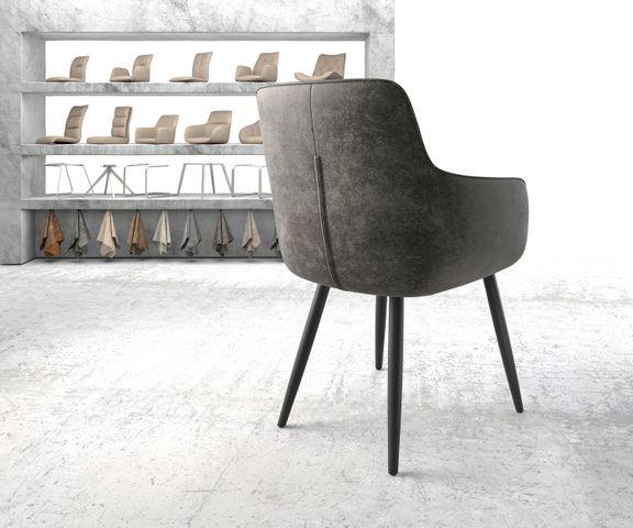 Eetkamerstoel Pejo-Flex grijs vintage 4-poot conisch zwart 3