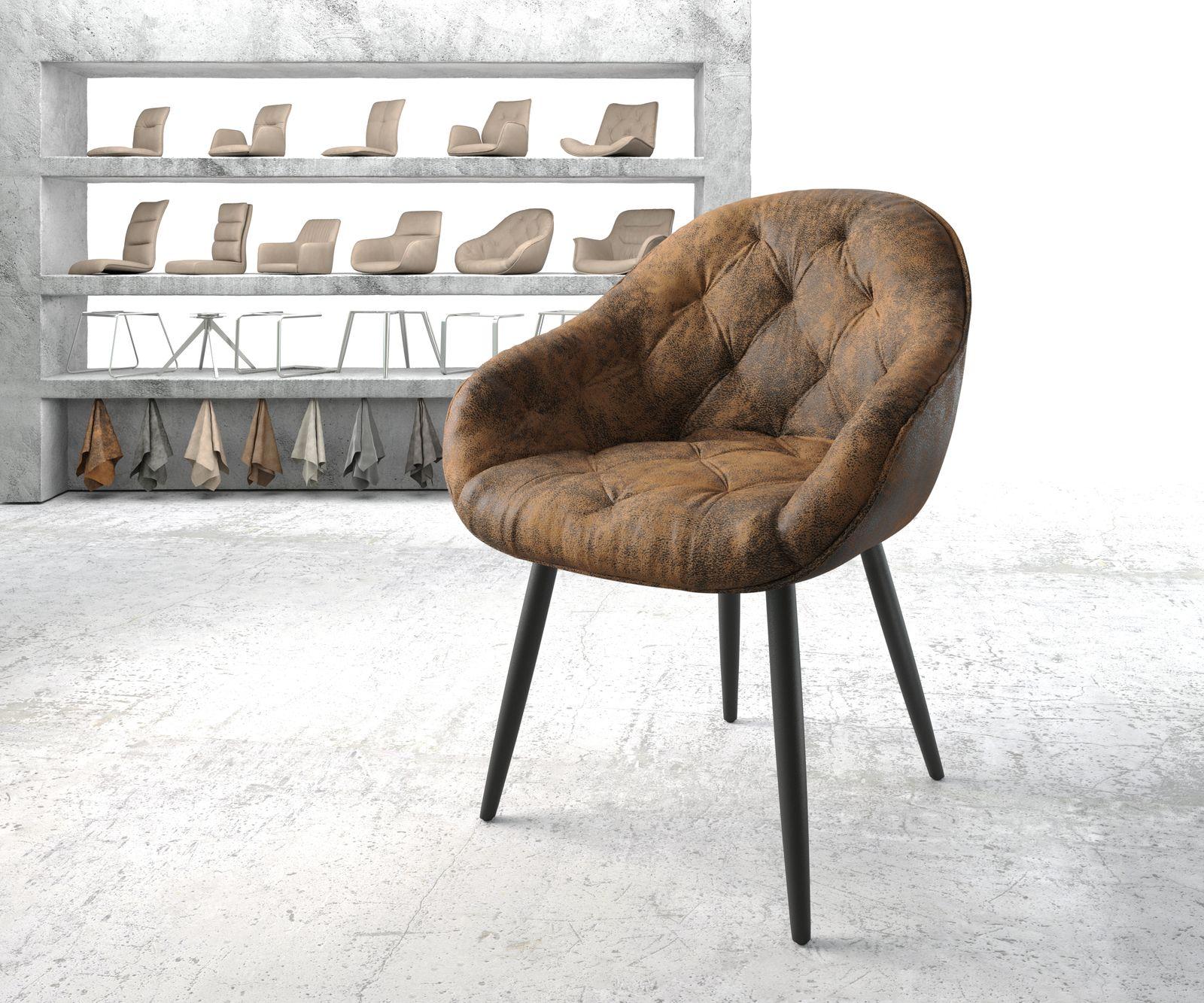 delife-armlehnstuhl-gaio-flex-braun-vintage-4-fu-konisch-schwarz-esszimmerstuhle