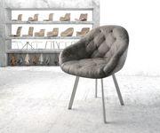 Armlehnstuhl Gaio-Flex 4-Fuß oval Edelstahl Vintage Grau [20890]