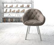 Armlehnstuhl Gaio-Flex 4-Fuß oval Edelstahl Vintage Taupe [20892]