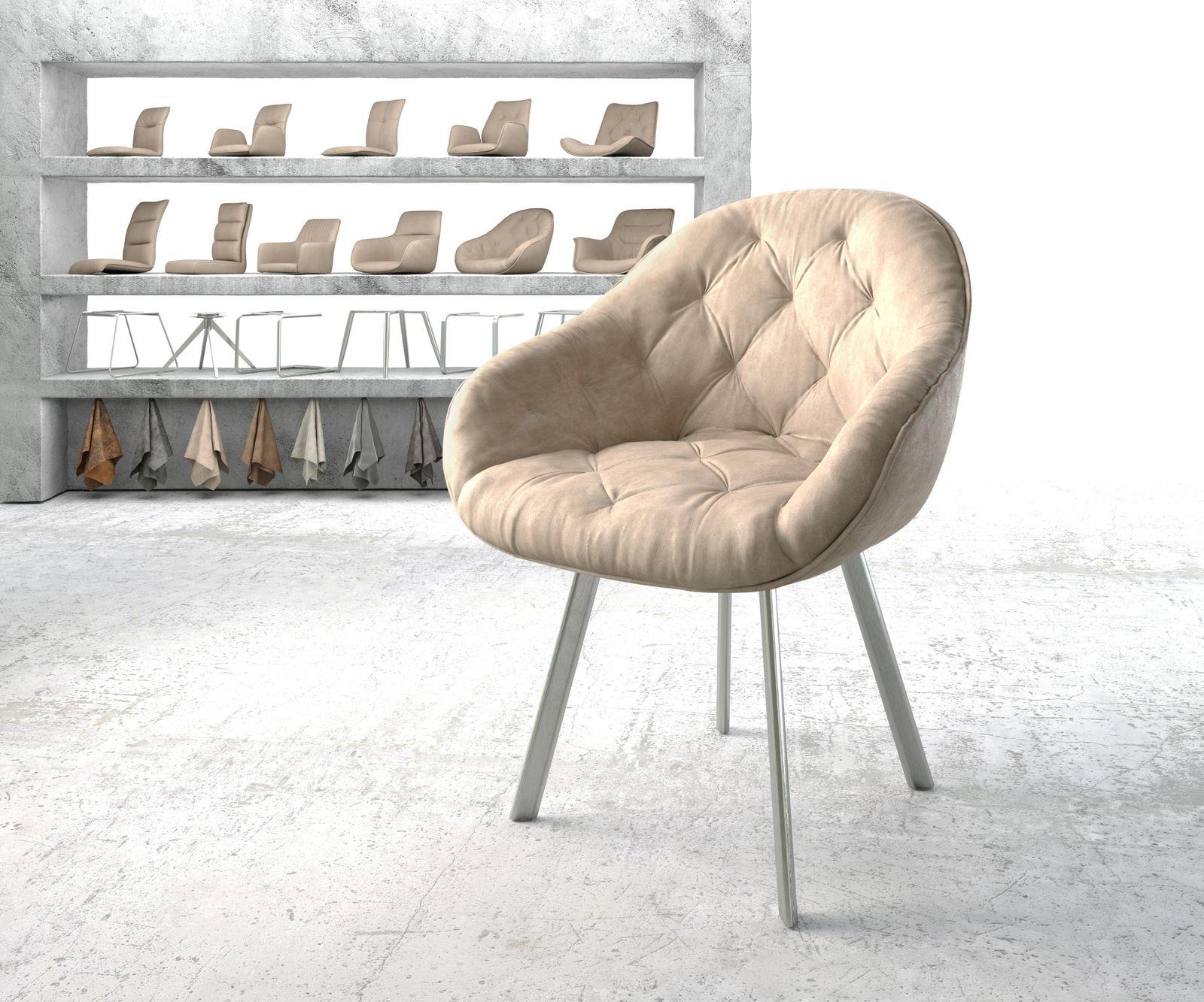 delife-armlehnstuhl-gaio-flex-beige-vintage-4-fu-oval-edelstahl-esszimmerstuhle