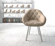 Armlehnstuhl Gaio-Flex 4-Fuß oval Edelstahl Vintage Beige [20895]